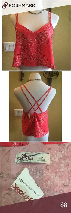 NWT Red Hollister Bandana Crop Tank Top Size L NWT Red Hollister Bandana Crop Tank Top Size L Hollister Tops Tank Tops