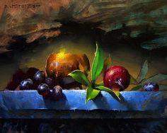 Copper & Plum by David Cheifetz Oil ~ 8 x 10
