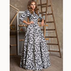 Scoop 3/4 Sleeves A-line Long High-waist Print Floral Dress