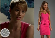 Margeux LeMarchal (Karine Vanasse) wears this pink dress with peplum waist and keyhole back in an episode of Revenge.