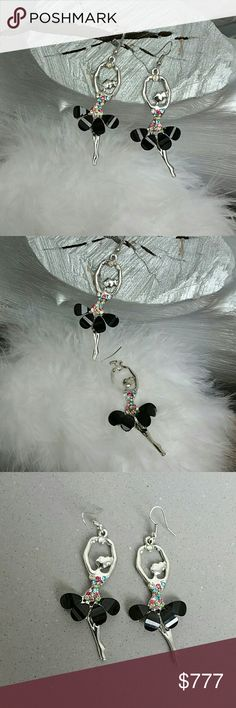 Beautiful Ballerina earrings NWOT Brand new  Add these beautiful ballerina earrings to your jewelry collection or give them as a gift to someone special. Silver toned metal, multi colors rhinestones and black ballerina skirt really make these earring lovely!  Hypoallergenic  Hook style   Shop with confidence Suggested User Same day shipping 5 star rated closet Top seller   *ballerina, ballet, dance, tutu, gift** Jewelry Earrings