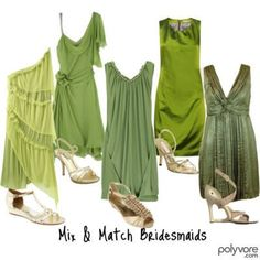 Help me find green dresses? :  wedding bridesmaid dresses green mismatched trying to be flexible bride that039s failing Bridesmaids Dresses
