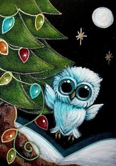 HOLIDAY TINY OWL ...-LIGHTS FOR CHRISTMAS TREE