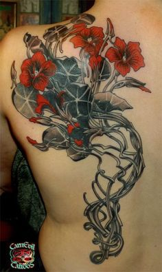 Art nouveau ca poppies black and blue tattoo the because for Bone head tattoo