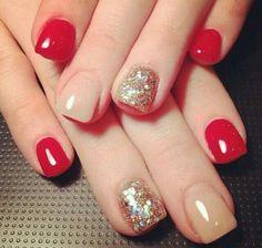 Rojo con dorado y un poco de glitter