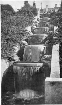 """Cleveland Cascade, Oakland Public Parks, Oakland, Cal. The electric lights behind the shells are arranged in spectrum sequence. Howard Gilkey, landscape architect. 1931"" / via Marty Wood aka @resonantcity"
