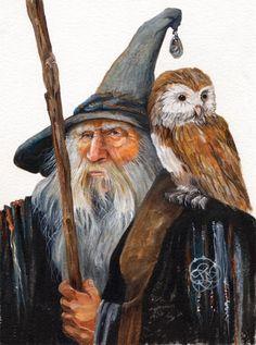 m Wizard Robes Cloak Hat Staff Owl Familiar Traveler lg Gandalf, Yule, Fantasy Wizard, Celtic Dragon, Halloween Books, Believe In Magic, Owl Art, Magical Creatures, Fantasy Artwork