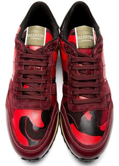 VALENTINO Men's Sneakers in Red, Burgundy & Black Camouflage | Givenchy, Saint Laurent, Giuseppe Zanotti, Balmain | SPENT MY DOLLARS | 2015 Fashion,Shoes,Bags