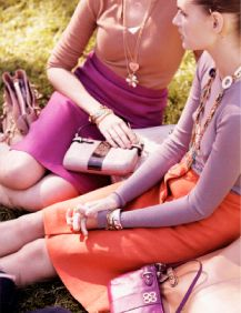 Spring fashion: time to start coordinating and looking for pinks, peaches, lavenders, oranges and fuchsias.