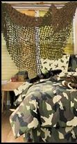 Netting instead of curtains! my nephew would just love this - Home Decorating Guru Army Decor, Military Decorations, Boys Army Room, Boy Room, Army Bedroom, Kids Bedroom, Camouflage Room, Camo Curtains, Camo Rooms
