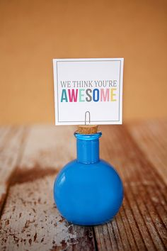 Painted Photo Bottles + we think you're awesome print - fun and inexpensive graduation gift