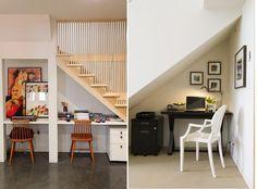 Soluções para aproveitar o espaço debaixo das escadas