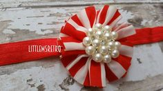 Vday Red Vintage Striped Twirl Flower with BOLD Pearl Rhinestone Center on Red Elastic Headband - pinned by pin4etsy.com
