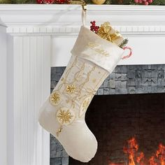Personalized Ivory And Gold Jeweled Christmas Stockings - Yuletide Jeweled - Christmas Clearance