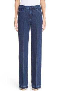 Victoria, Victoria Beckham High Rise Wide Leg Jeans (Indigo Rub) $278.98  # #style #ClothingSale