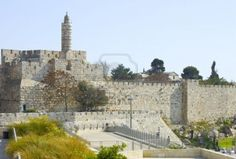 The Ancient Walls Surrounding Old City in Jerusalem. Stock Photo