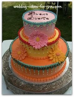 Mexican themed bridal shower cake by Lorelie @wedding-cakes-for-you.com