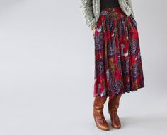 The Faye: Vintage Batik Print Boho Skirt from The Symmetric on Etsy.