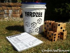 A Bucket of Fun for Family and Friends! find font and also dice to use on bucket Yardzee Set - Play Anywhere Backyard Games, Outdoor Games, Outdoor Fun, Outdoor Activities, Backyard Ideas, Outdoor Signs, Outdoor Toys, Outdoor Stuff, Garden Ideas