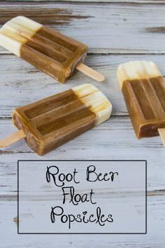 Only two ingredients. Easy, Fun, Delicious and Refreshing. A fun popsicle treat on a hot day! We love Root Beer Float Popsicles! Frozen Desserts, Frozen Treats, Fun Desserts, Delicious Desserts, Dessert Recipes, Yummy Food, Tasty, Root Beer Popsicles, Yogurt Popsicles