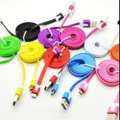 Look what I won:) LIGHT PINK 3 Feet Flat Stylish Multi-Color Micro USB to USB 2.0 Data Sync Charger Cable for Samsung