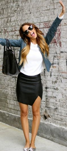 summer outfits Denim Jacket + White Tee + Black Leather Skirt