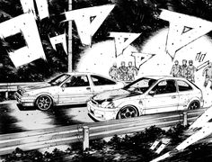 2 of my favorite cars running each other in Initial D
