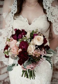 Blush and Wine wedding bouquet