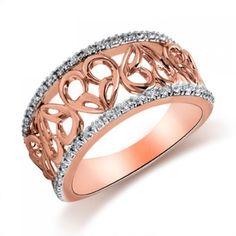 "Jessica Simpson, ""I Am Irresistible"", 10K Rose Gold Diamond Heart Band"