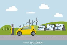 Colorful vector featuring a yellow electric car with charger on a road, with solar panels and windmills on the background. Blue sky with some clouds.
