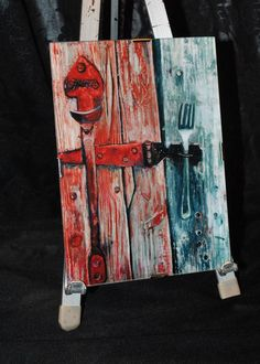 Weathered Barn Door Silver Fork Barn Red by makedomercantilearts, $18.00