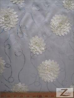 "FLORAL ROSE TAFFETA SEQUINS FABRIC - Ivory - 55"" WIDTH SOLD BY THE YARD Big Z Fabric http://www.amazon.com/dp/B00LMFLVO6/ref=cm_sw_r_pi_dp_JmnTub01S07YP"