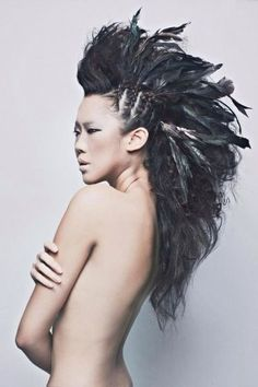 Braids + Feathers = Amazing Hair Dreadlocks, Hair Styles, Beauty, Hair Plait Styles, Beleza, Dreads, Hairdos, Hair Style, Cosmetology