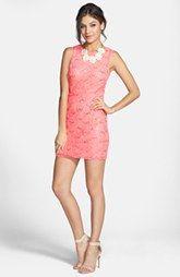 Hailey Logan Mesh Inset Sequin Lace Sheath Dress (Juniors) (Online Only)