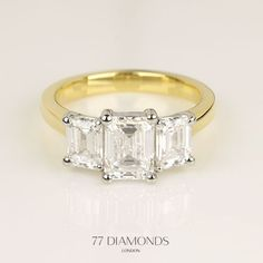 The three diamonds of this bespoke trilogy engagement ring represent past, present and future. Trilogy Engagement Ring, Engagement Ring For Her, Diamond Engagement Rings, Buy Diamonds Online, 77 Diamonds, Beautiful Diamond Rings, Diamond Stores, Three Stone Rings, Pretty Rings