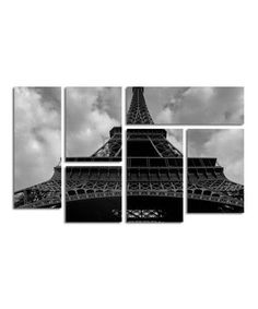 Look what I found on #zulily! Moises Levy Eiffel I Gallery-Wrapped Canvas Panel Set by Trademark Global #zulilyfinds