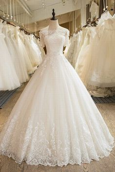 A-line Off Shoulder Floor Length Organza Bridal Wear Lace