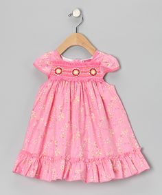 Maggie Peggy - Pink & Yellow Floral Smocked Dress