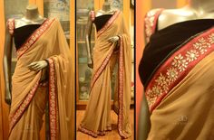 CODE:AB132 PRICE:INR 5000 (including courier within India) Saree fabric-georgette with kundan worked border Blouse-Black velvet or Black raw silk TO BUY THIS SAREE PLS CLICK THE LINK BELOW https://pay.shmart.in/newpg/pay_merchant/buttn/272274043 07 July 2016