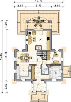 Ondraszek. Dom regionalny w stylu beskidzkim, parterowy z poddaszem użytkowym, z przestronnym tarasem - Studio Atrium Floor Plans, How To Plan, Projects, House, Studio, Ideas, Log Projects, Blue Prints, Home