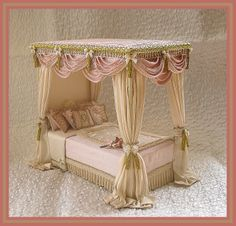 Silk four poster Dollhouse Bed.