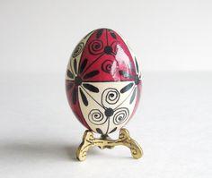 Pysanka, batik egg on chicken egg shell, Ukrainian Easter egg. $17.95, via Etsy.