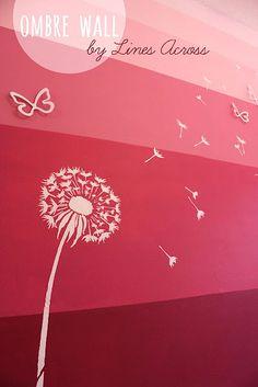 Dandelion Stencil Ombre Feature Wall. Love this stencil $24.95! https://www.cuttingedgestencils.com/dandelion-stencil.html #stencils #flowerstencils #nursery