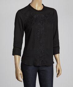 Look at this #zulilyfind! Black Lace Embroidered Three-Quarter-Sleeve Top #zulilyfinds