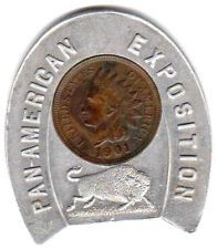1901 BUFFALO PAN AMERICAN EXPOSITION - INDIAN HEAD - ENCASED PENNY - COIN - CENT