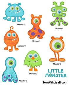 *i bought this set. They are small and don't size up.*. Monster APPLIQUE Machine Embroidery Designs by SewWithLisaB
