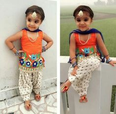 ♡ Cute little Punjabi girl. Get this salwar suit designed for your kid at… Little Girl Fashion, Kids Fashion, Women's Fashion, Punjabi Girls, Punjabi Suits, Salwar Suits, Little Girl Dresses, Girls Dresses, Kids Ethnic Wear