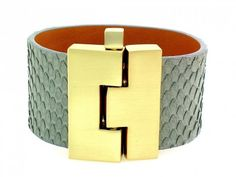 wide jigsaw bracelet :: grey python w/matte gold {leighelena}