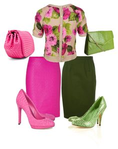 Pink and Green by tknoppe on Polyvore featuring polyvore, fashion, style, D&G, Givenchy, Versace, B Brian Atwood, Bottega Veneta, Camille Zarsky, clothing, green skirt, floral sweater and pink skirt