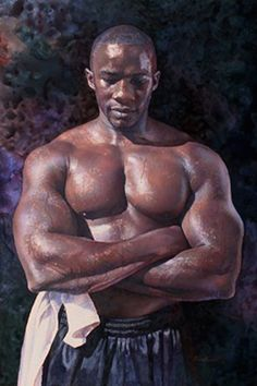 """A Powerful Presence"" - Steve Hanks (American, 1949–2015), watercolor {figurative art male chest muscular african-american black man torso painting #arthistory #loveart} stevehanksartwork.com"